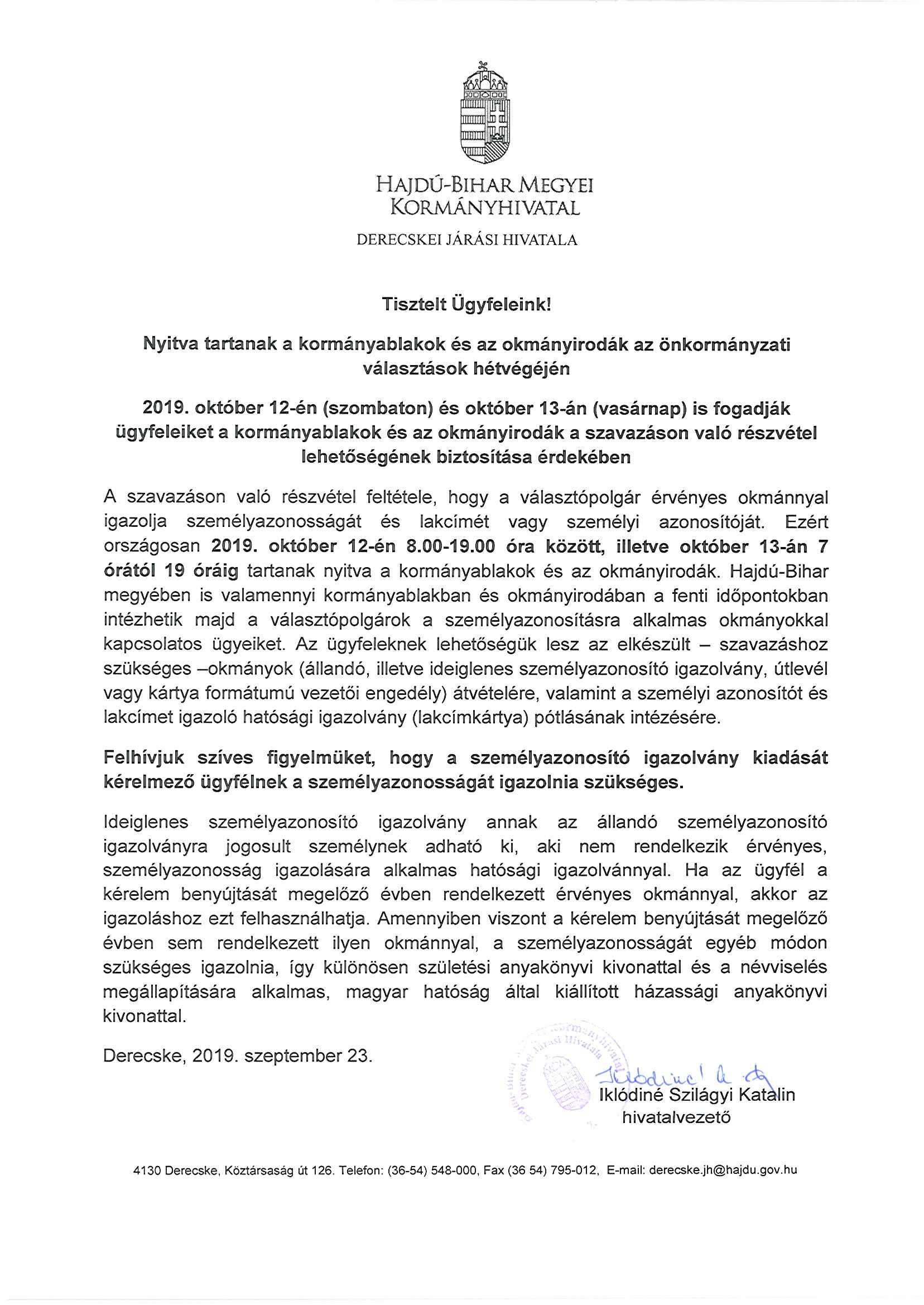 Tájékoztató az önkormányzati választások hétvégéjén a kormányablakok és okmányirodák nyitva tartásáról