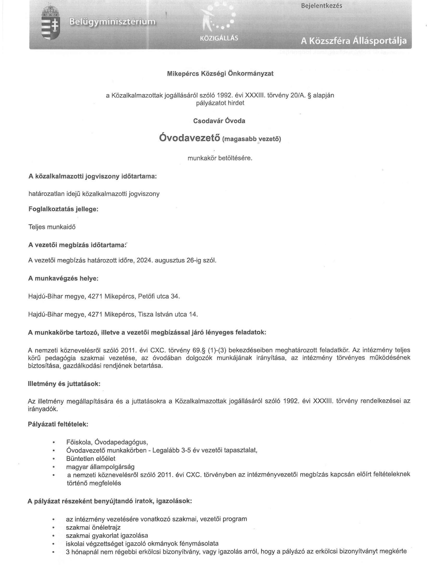 Pályázat munkakör betöltésére - Csodavár Óvoda, óvodavezető