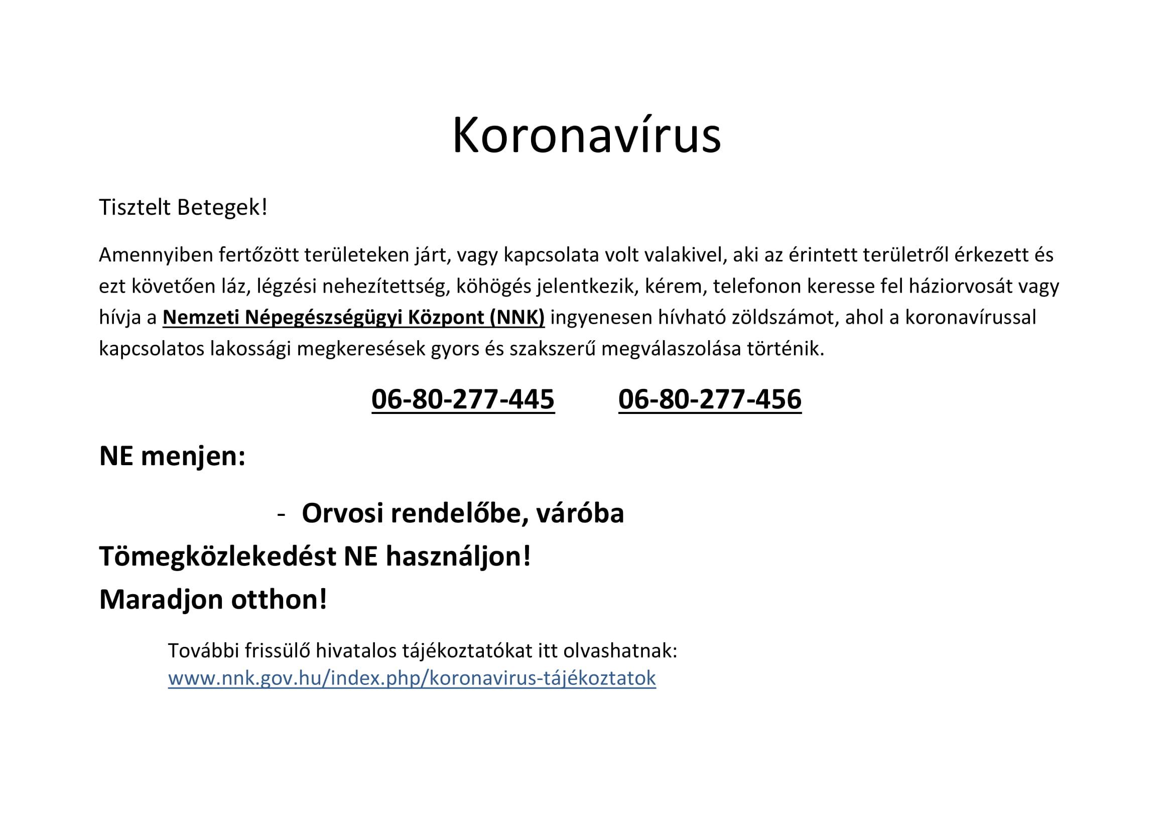 Tájékoztató a koronavírusról az Országos Orvosi Ügyelet Nonprofit Kft. részéről