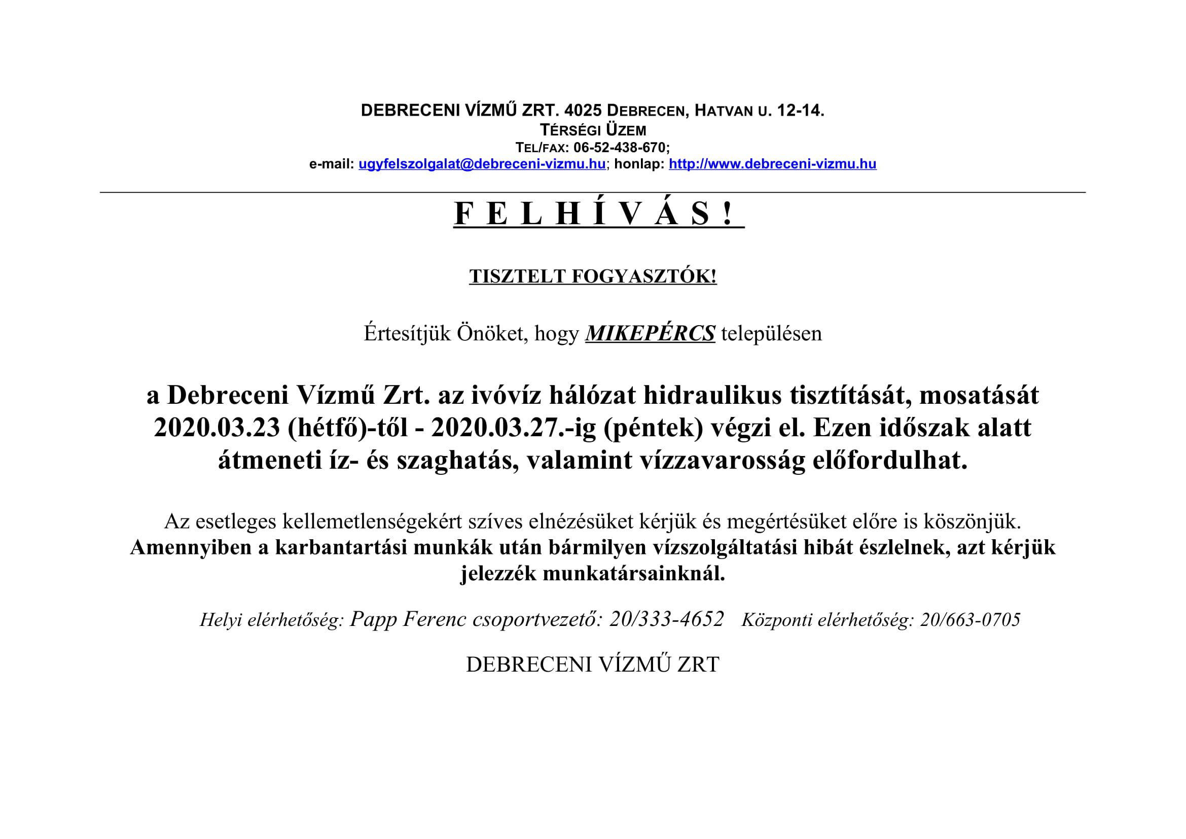 Debreceni Vízmű Zrt. tájékoztatóját tesszük közzé a mosatási és tisztítási munkáikról
