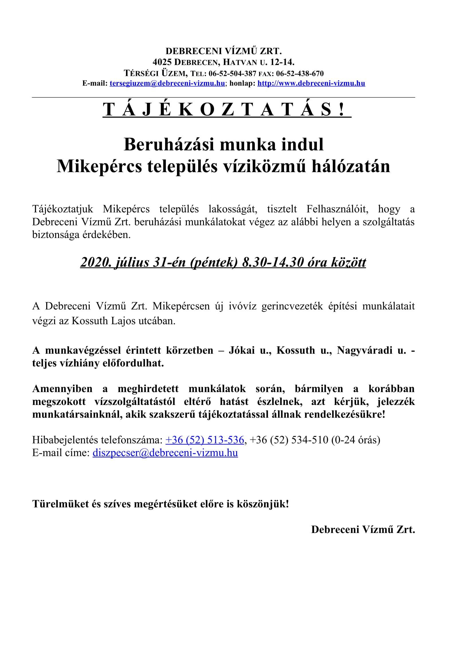 Felhívás - Debreceni Vízmű Zrt. tájékoztatása beruházási munkákról és vízszünetről 07. 31.