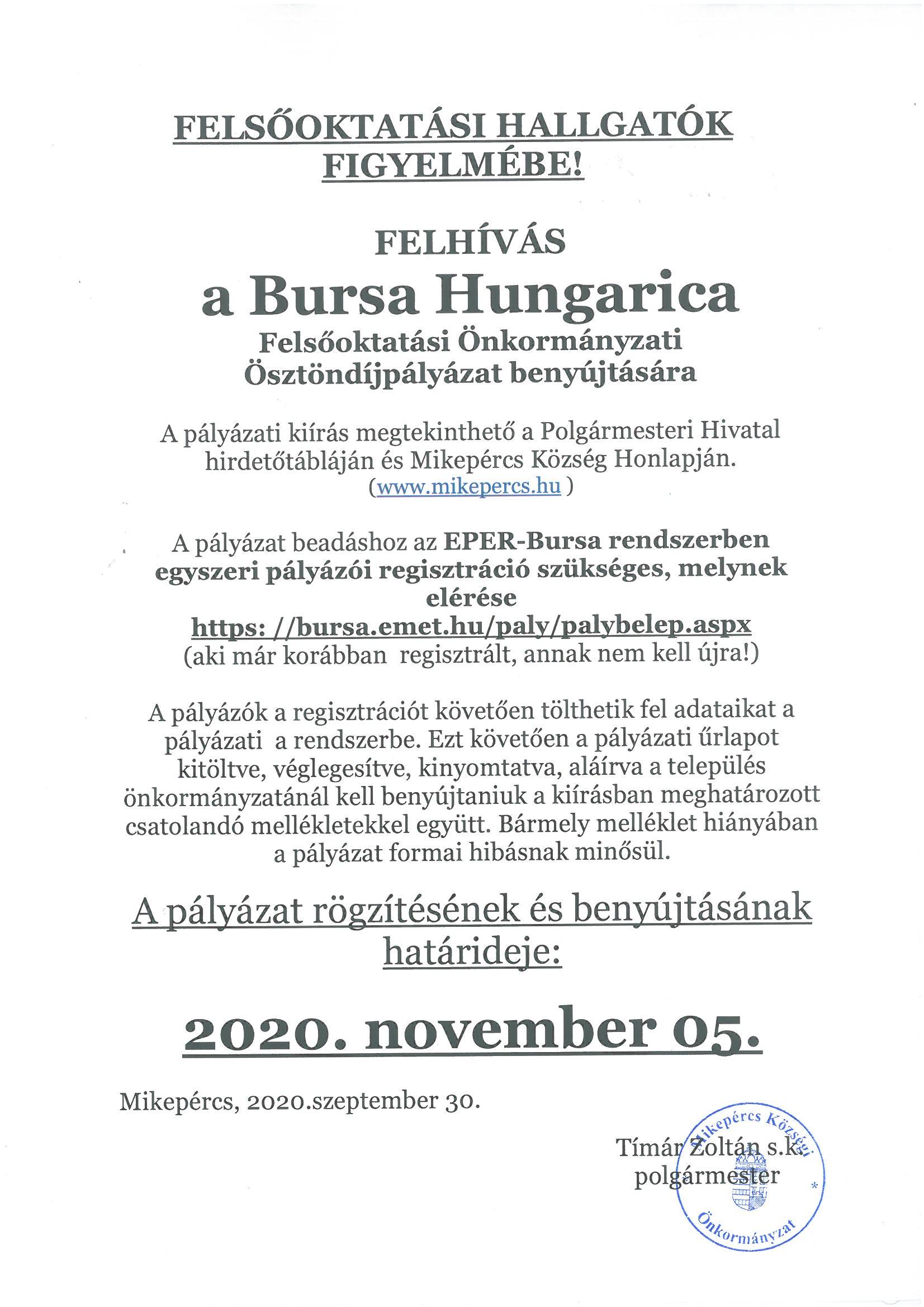 BURSA HUNGARICA FELSŐOKTATÁSI ÖNKORMÁNYZATI ÖSZTÖNDÍJPÁLYÁZAT 2020