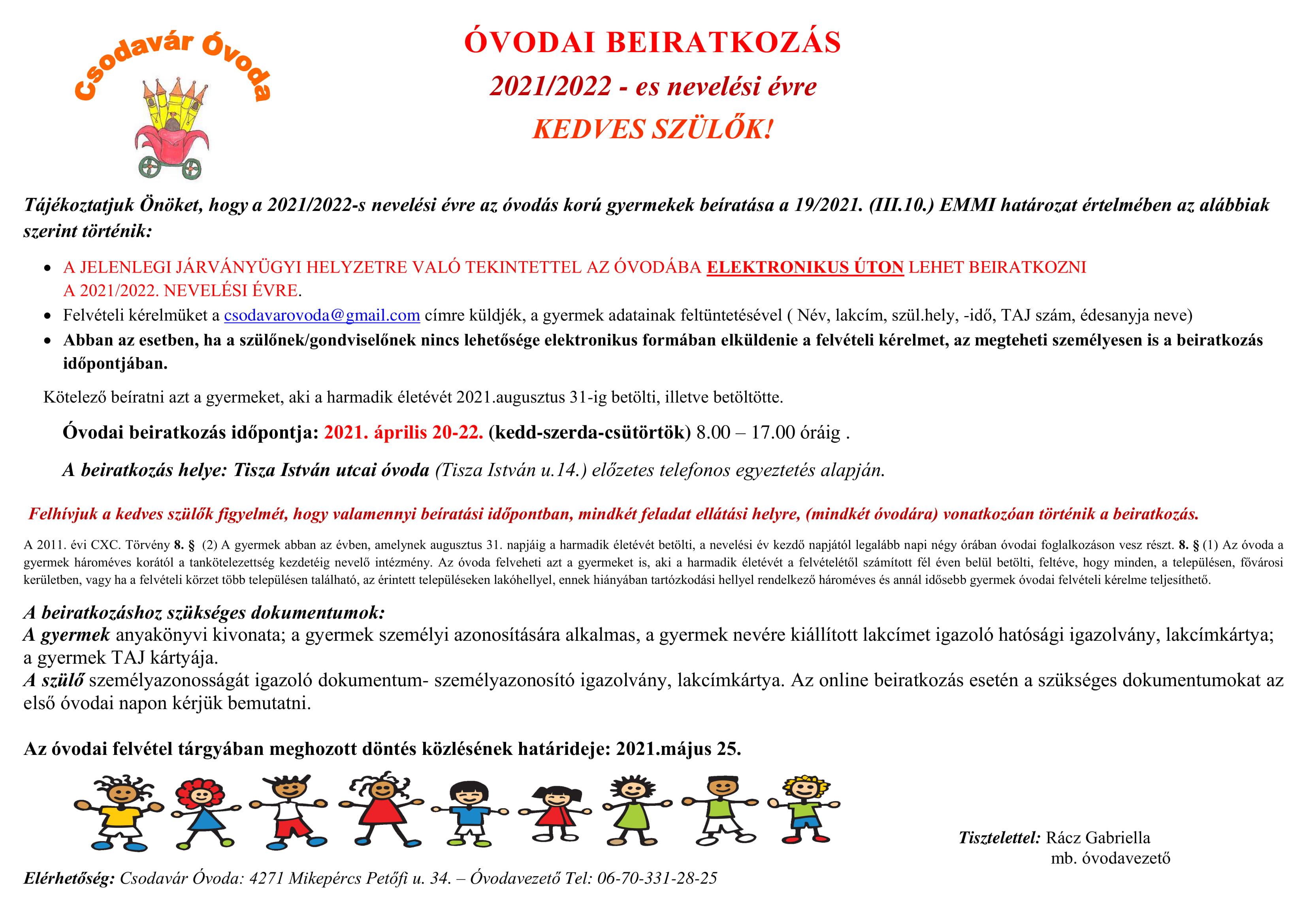 Óvodai beiratkozás a 2021/2022-es nevelési évre