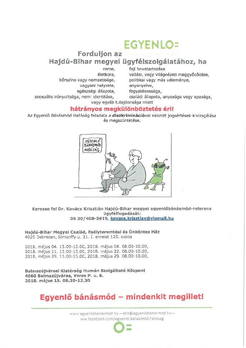 Egyenlő Bánásmód Hatóság májusi ügyfélfogadás