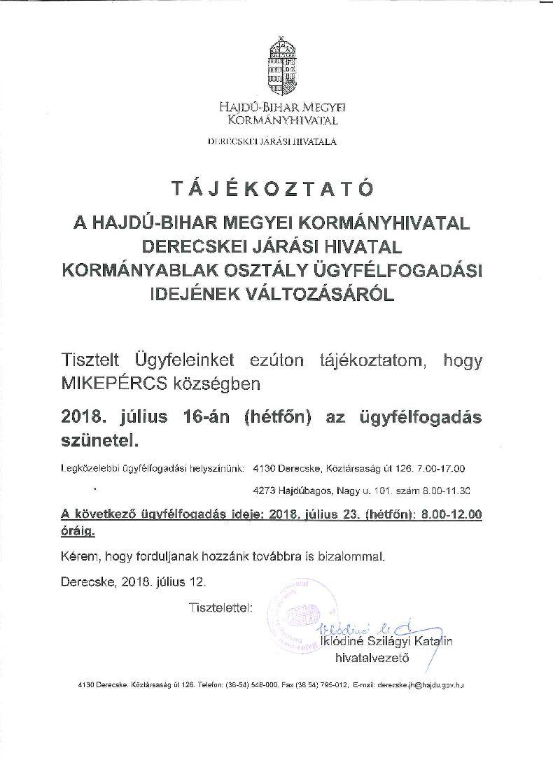Tájékoztatás a Derecskei Járási Hivatal ügyfélfogadási idejének változásáról