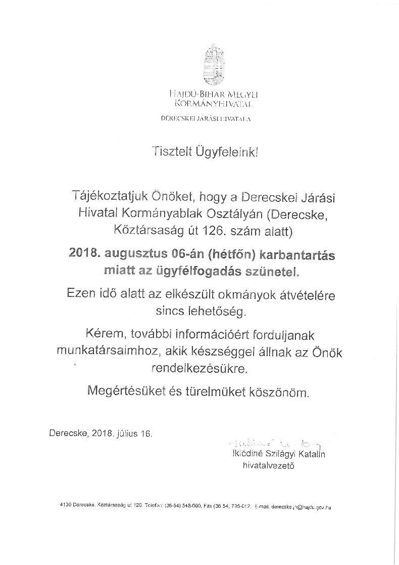Tájékoztatás a Derecskei Kormányablak ügyfélfogadásának szüneteléséről
