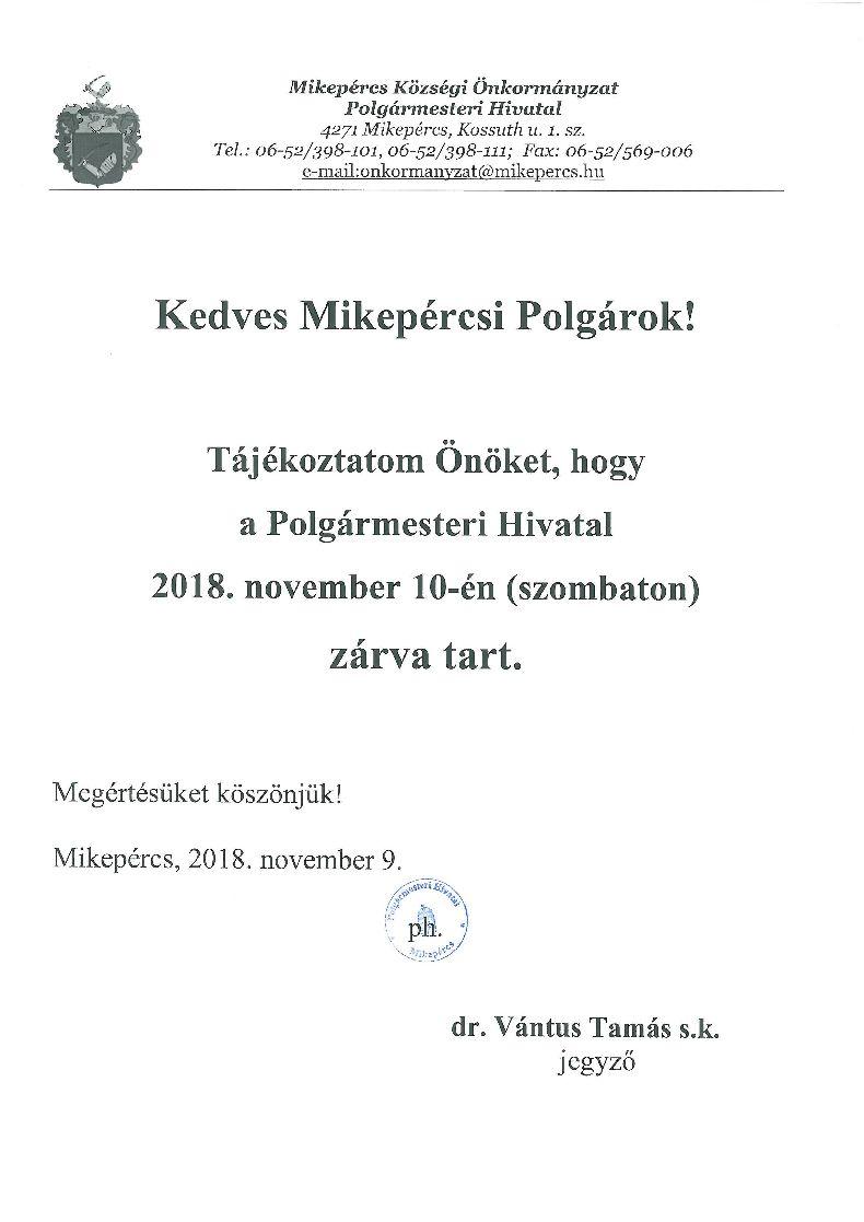 Tájékoztató a Polgármesteri Hivatal ügyfélfogadásáról