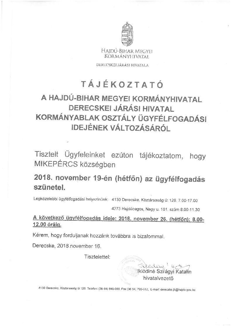 Tájékoztatás a Derecskei Járási Hivatal ügyfélfogadási idejének változásáról- November 19.