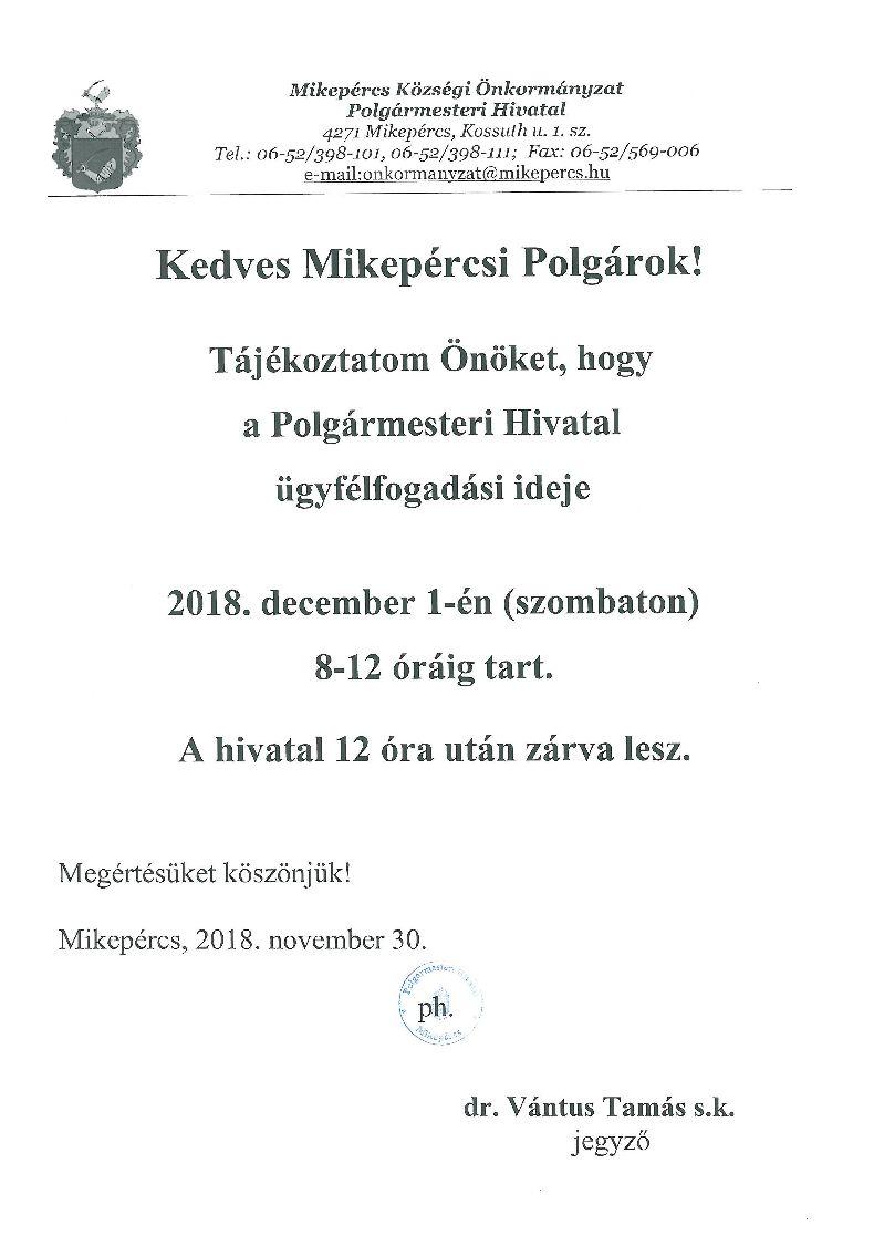 Tájékoztató a Polgármesteri Hivatal ügyfélfogadásáról - 12. 01.