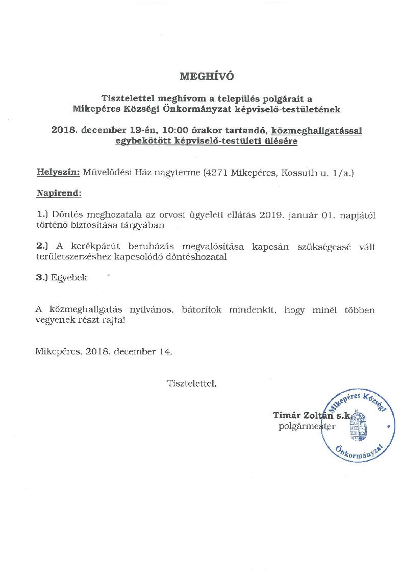 Meghívó a Mikepércs Községi Önkormányzat képviselő-testületének közmeghallgatással egybekötött képviselő-testületi ülésére
