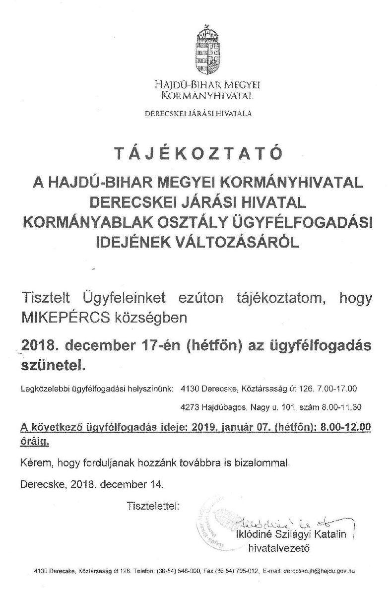 Tájékoztatás a Derecskei Járási Hivatal ügyfélfogadási idejének változásáról- December 17.