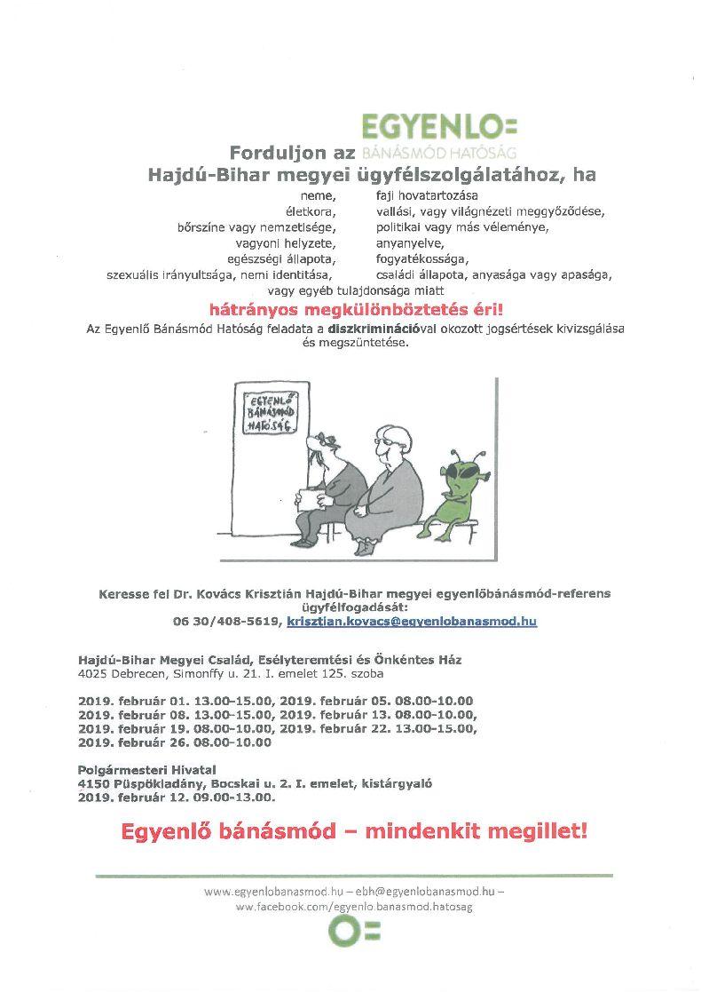 Egyenlő Bánásmód Hatóság februári ügyfélfogadása