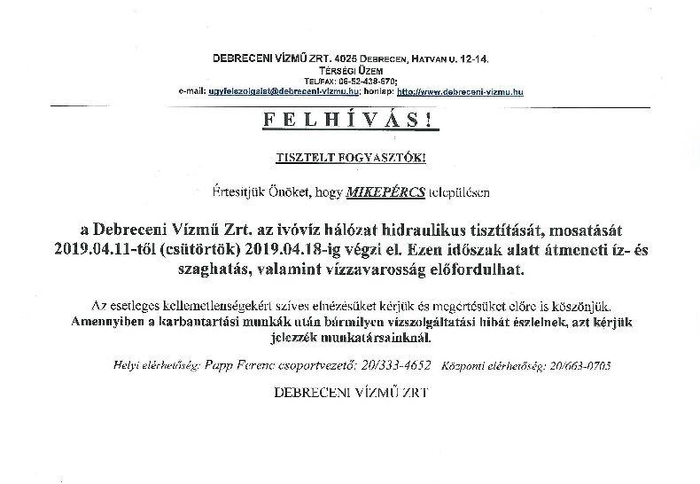 Felhívás - Debreceni Vízmű Zrt. tájékoztatása