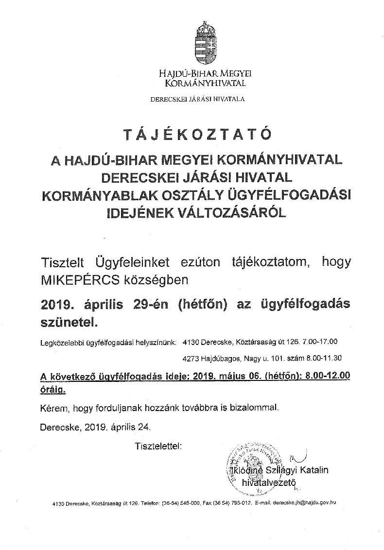 Tájékoztatás a Derecskei Járási Hivatal ügyfélfogadási idejének változásáról - Április 29.