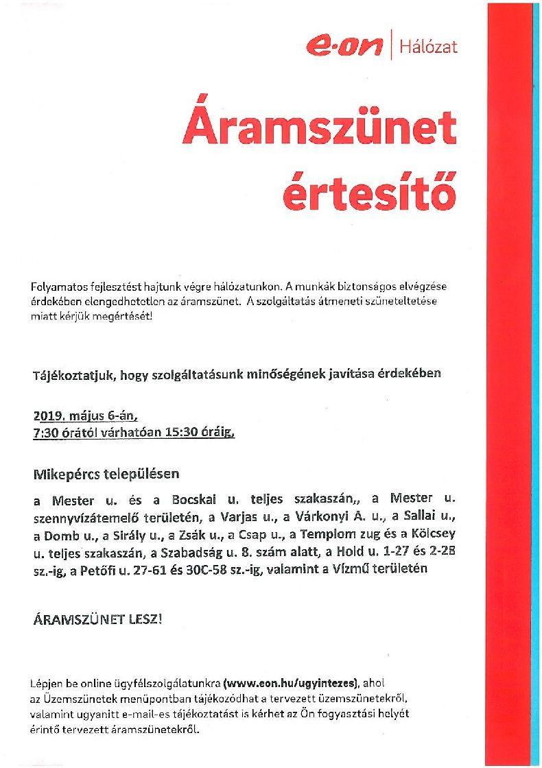 Tájékoztatás áramszünetről - Május 6.
