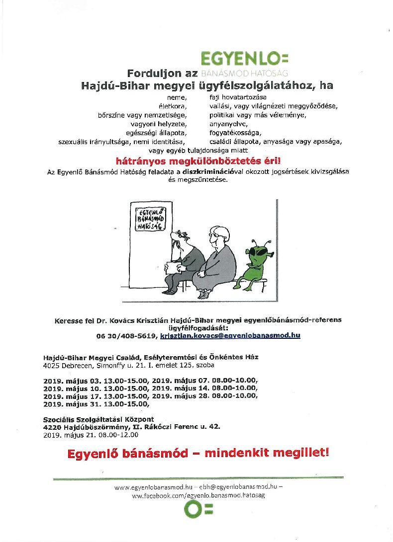 Egyenlő Bánásmód Hatóság májusi ügyfélfogadása