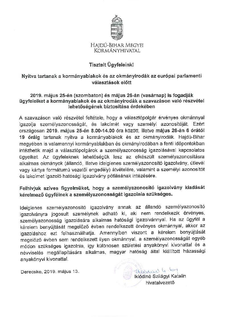 Tájékoztatás a kormányablakok és okmányirodák hosszabbított nyitva tartásáról