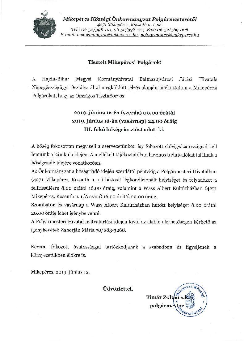 Tájékoztatás hőségriadó elrendeléséről - június 12.